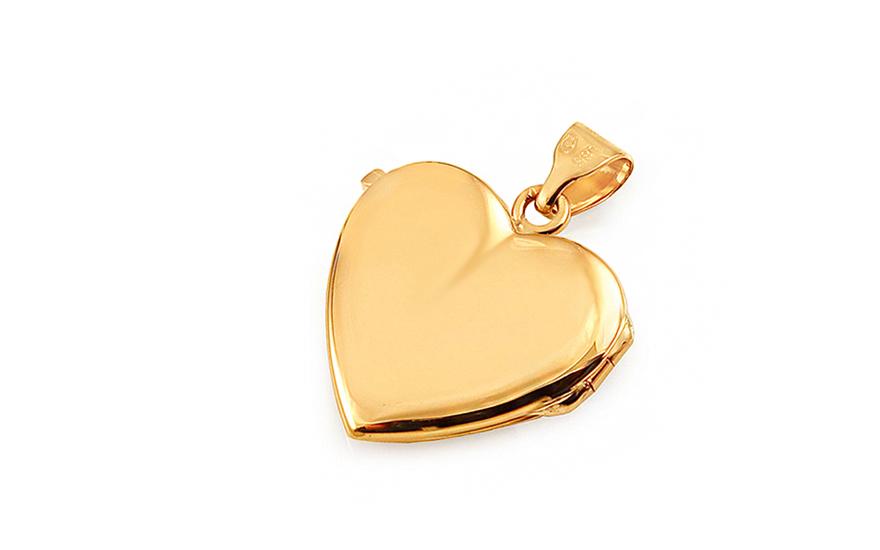 Zlatý medailon na fotku s květinovým gravírováním srdíčko c0ffa4e5f50