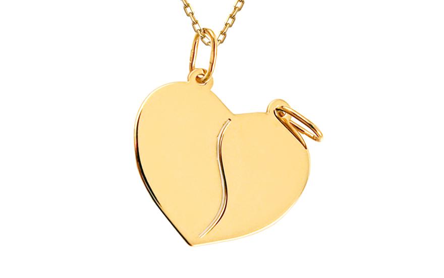 Zlatý medailon na gravírování Srdce pro dva IZ8153