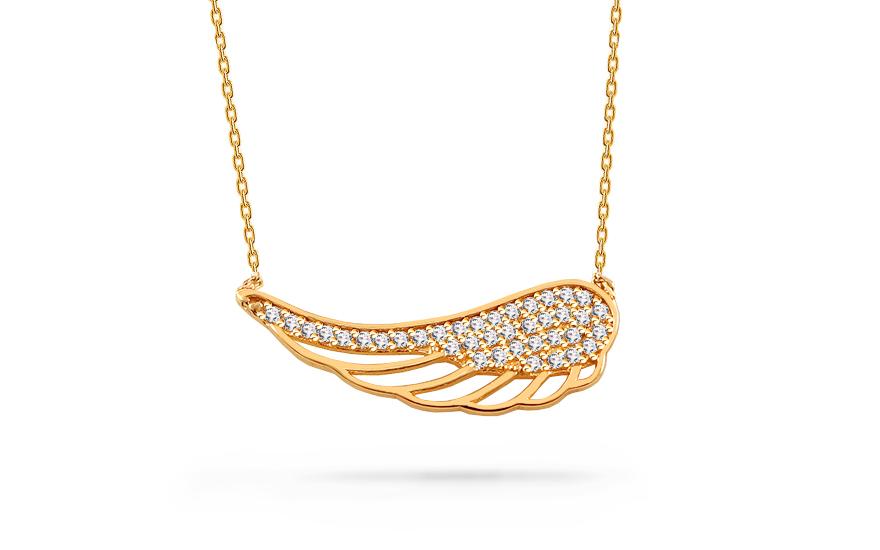 Zlatý náhrdelník Andělské křídlo se zirkony c34b40a02a
