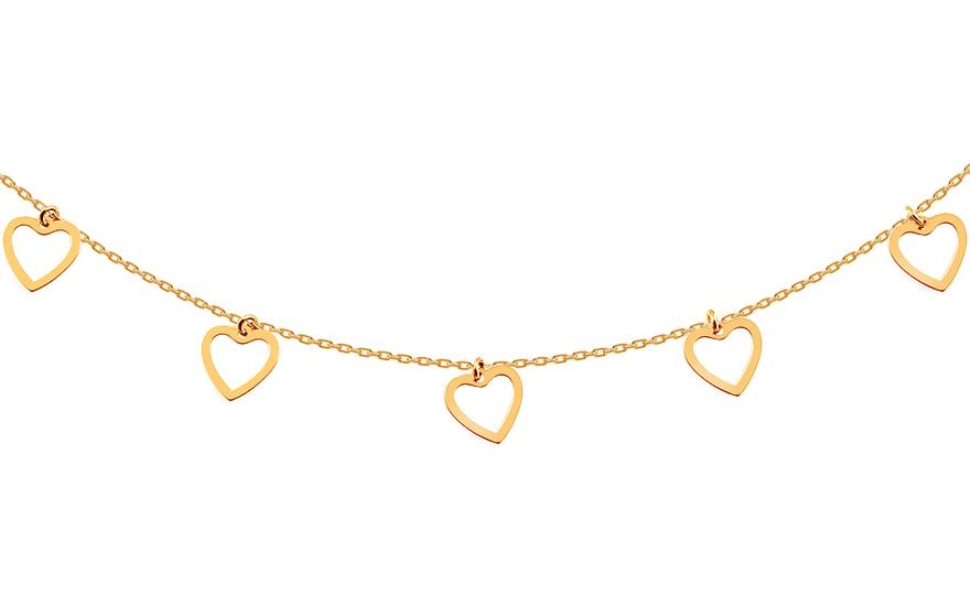 ccaa13d94 Zlatý náhrdelník Choker se srdíčky, pro ženy (IZ16810) | iZlato24.cz