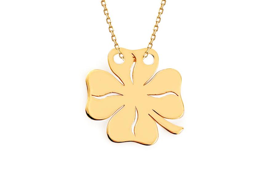 Zlatý náhrdelník čtyřlístek Celebrity IZ8186B