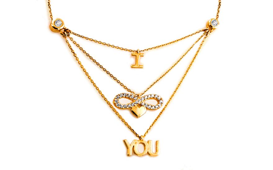 Zlatý náhrdelník Infinity Love IZ6380