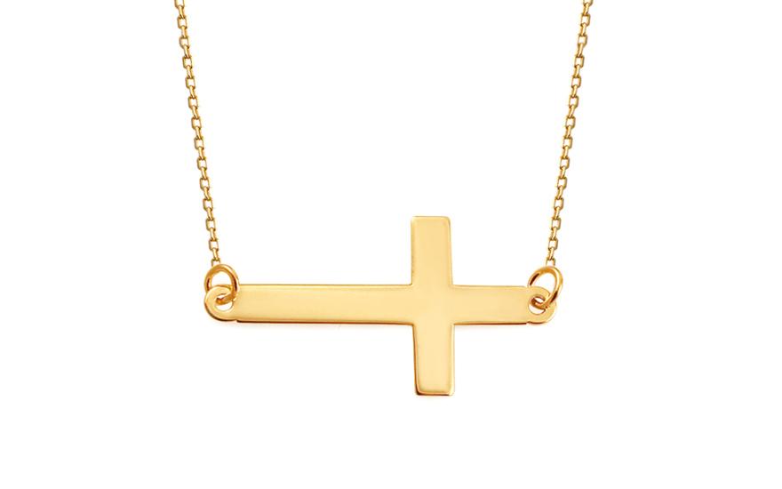 Zlatý náhrdelník křížek IZ9247