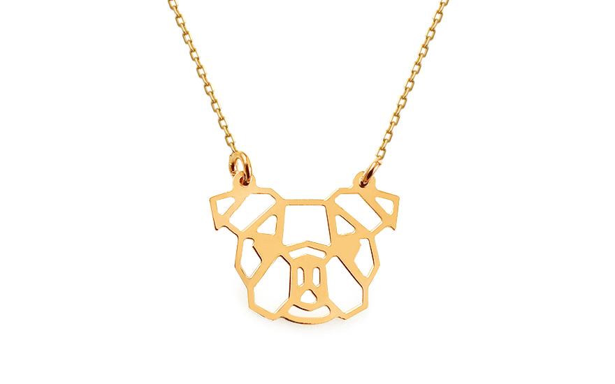 Zlatý náhrdelník Origami bostonský teriér IZ13341