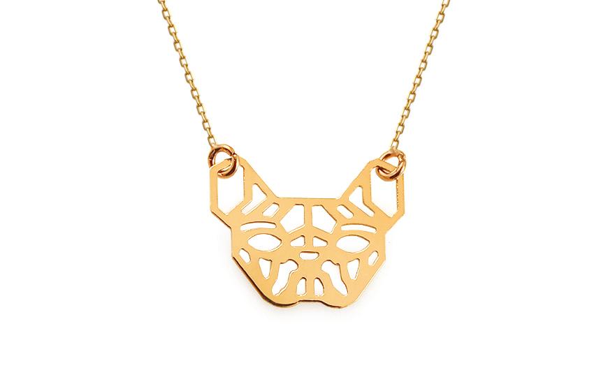 67b1ce341 Zlatý náhrdelník Origami buldoček, pro ženy (IZ13331) | iZlato24.cz