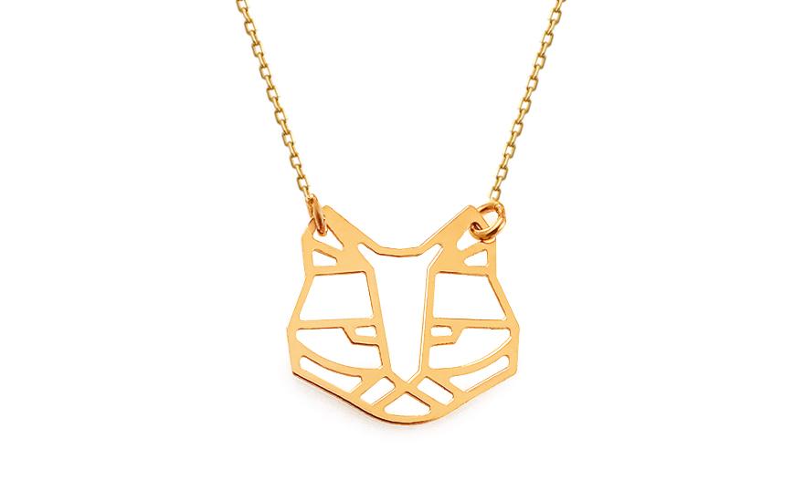 edc2d6c52 Zlatý náhrdelník Origami kočka, pro ženy (IZ13328) | iZlato24.cz