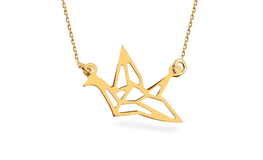 Zlatý náhrdelník Origami ptáček IZ12456