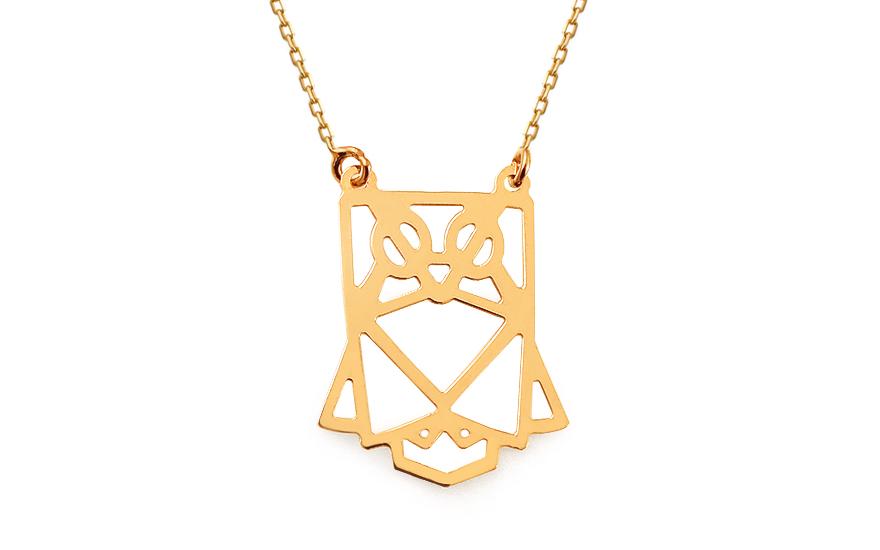 d8527f6b7 Zlatý náhrdelník Origami sovička, pro ženy (IZ13340) | iZlato24.cz