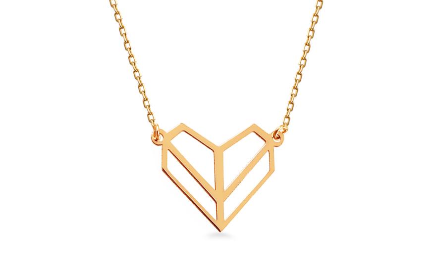 Zlatý náhrdelník Origami srdce IZ13090
