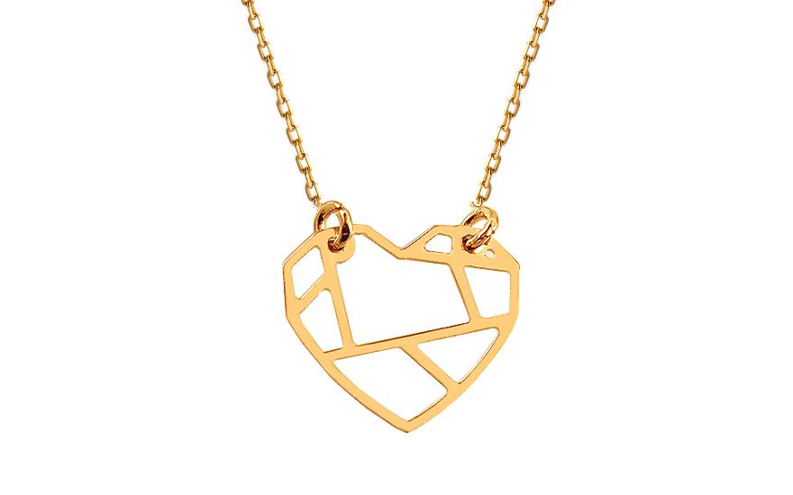 Zlatý náhrdelník Origami srdce IZ13334
