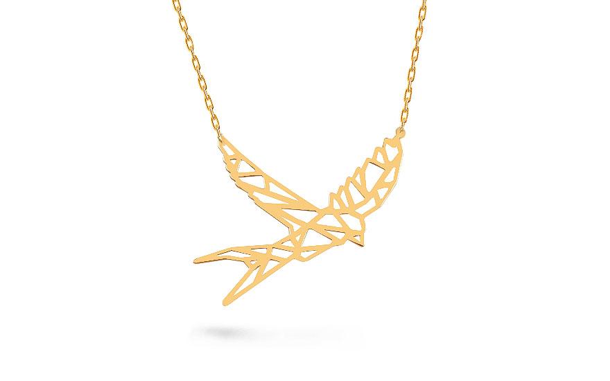 e2a0e25fb Zlatý náhrdelník Origami vlaštovka, pro ženy (IZ14986C) | iZlato24.cz