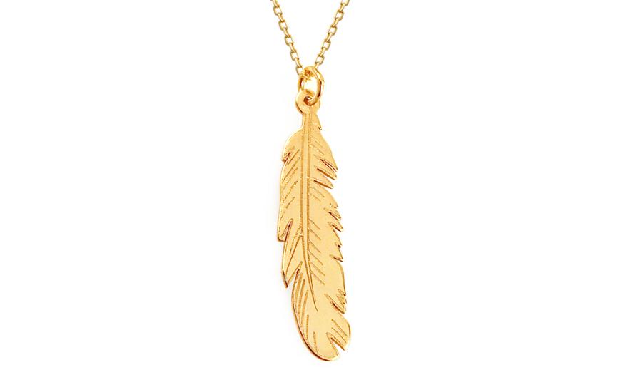 Zlatý náhrdelník pírko IZ11533