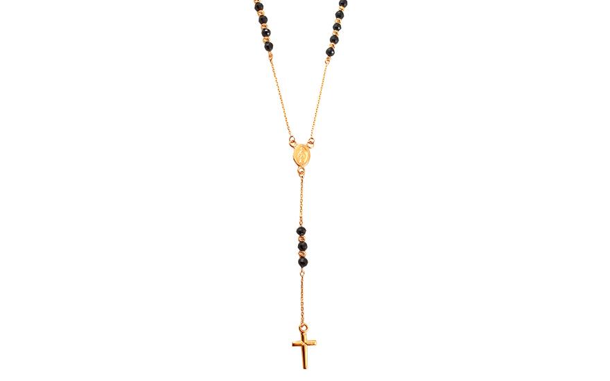 Zlatý náhrdelník růženec s černými zirkony IZ13553