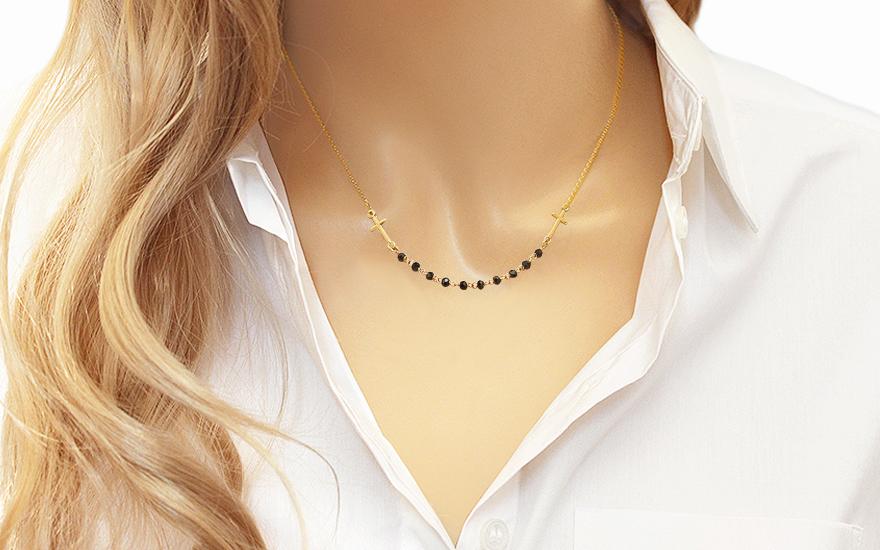 Zlatý náhrdelník růženec s onyxem IZ11223
