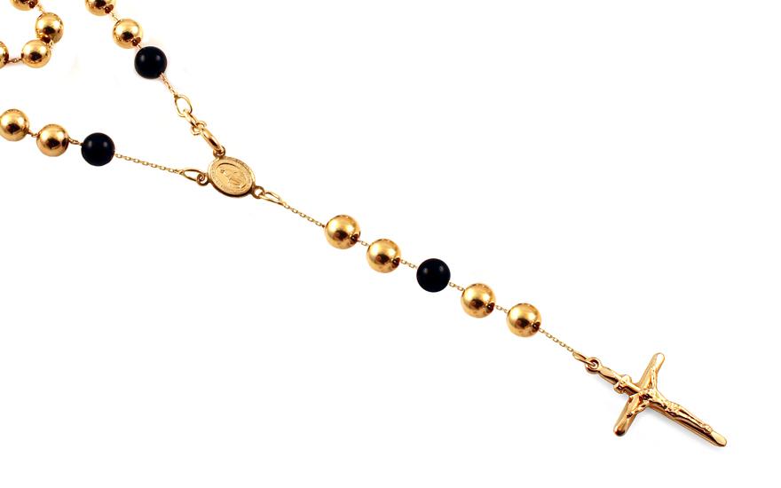 Zlatý náhrdelník růženec s onyxem 65 cm IZ12741