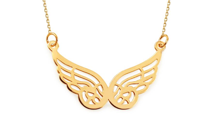 Zlatý náhrdelník s andělskými křídly Celebrity IZ11536