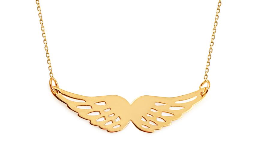 Zlatý náhrdelník s andělskými křídly Celebrity IZ11537