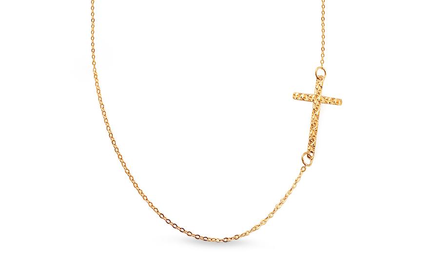 Zlatý náhrdelník s gravírovaným křížkem IZ13357
