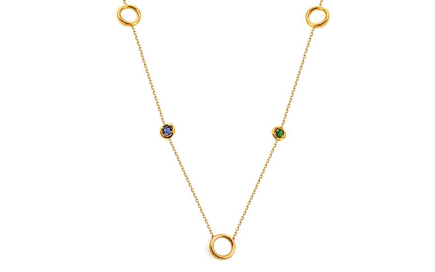 Zlatý náhrdelník s kroužky a barevnými kamínky 2dd76f6579b