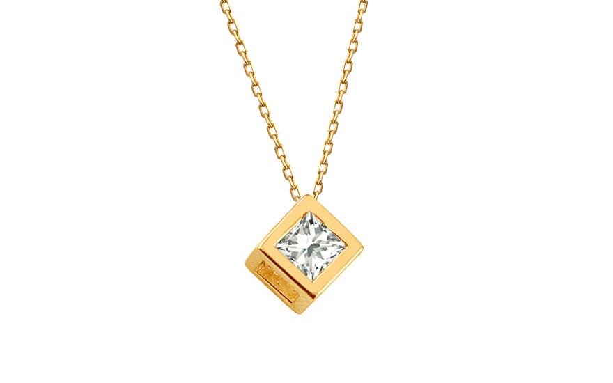 Zlatý náhrdelník se čtvercovým zirkonovým přívěskem IZ12108