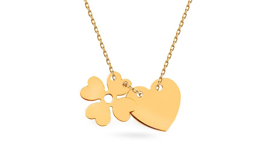 0efdbeafc Zlatý náhrdelník se srdíčkem a čtyřlístkem Celebrity, pro ženy ...