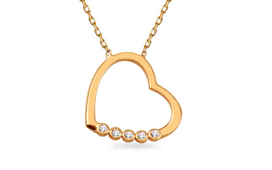 Zlatý náhrdelník se srdíčkem ozdobeným zirkony IZ13237