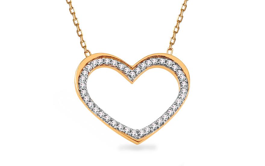 Zlatý náhrdelník se srdíčkem vykládaným zirkony IZ13240