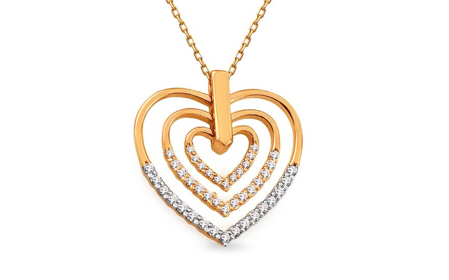 Zlatý náhrdelník se srdíčkem vykládaným zirkony IZ13218