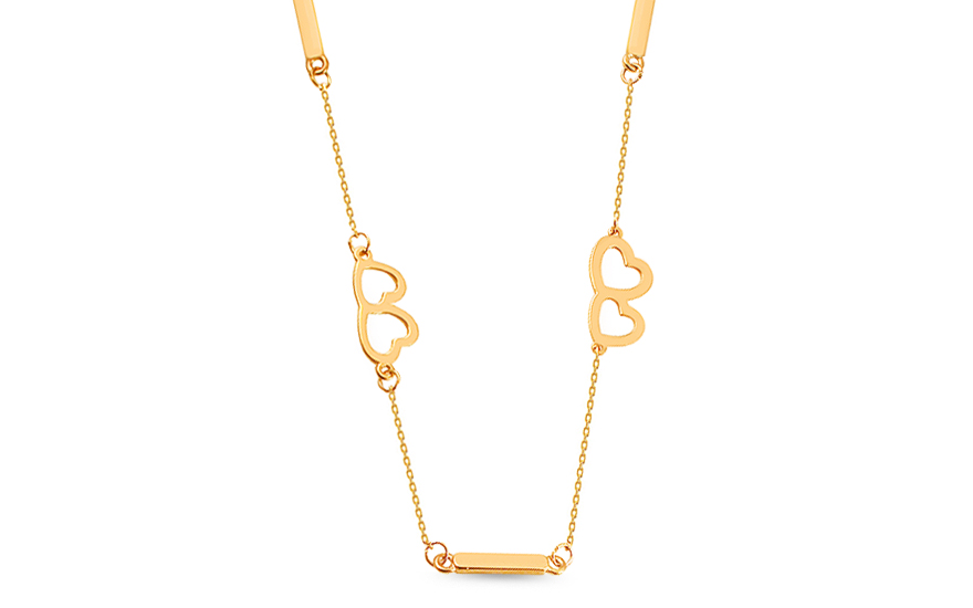 Zlatý náhrdelník se srdíčky IZ14137