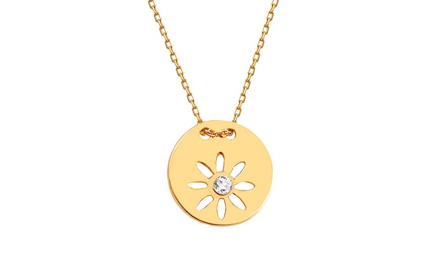Zlatý náhrdelník se zirkonem IZ12103