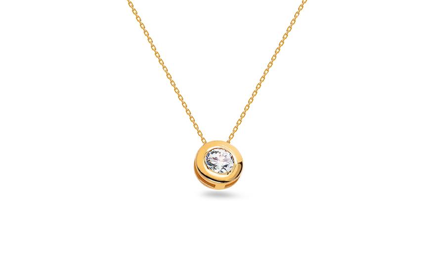 Zlatý náhrdelník se zirkonem Miliana 2 IZ12156