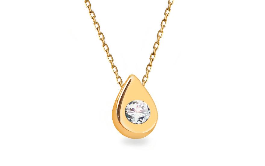 Zlatý náhrdelník se zirkonem slzička IZ13221