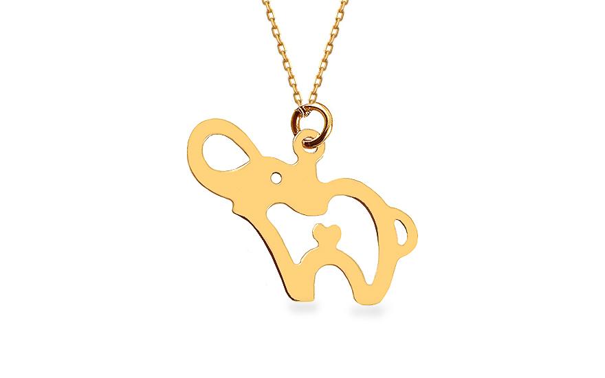 Zlatý náhrdelník sloník IZ12460