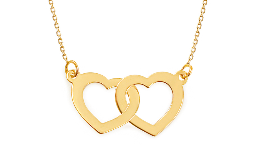 f73aa554c Zlatý náhrdelník zdvojená srdce, pro ženy (IZ9241) | iZlato24.cz