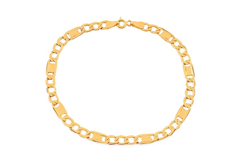 1c2bab587 Zlatý náramek Figaro s destičkami 5 mm, pro muže (IZ17897) | iZlato24.cz