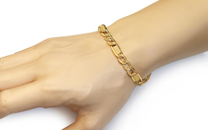 1bbfe3fae Zlatý náramek Figaro s destičkami 7,3 mm, pro muže (IZ11679N ...