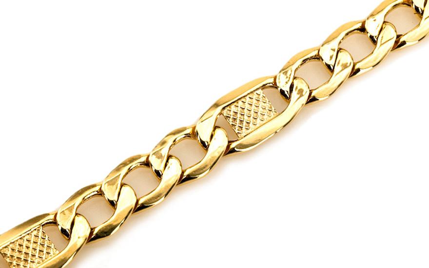 Zlatý náramek FIGARO s plotýnkami IZ5250