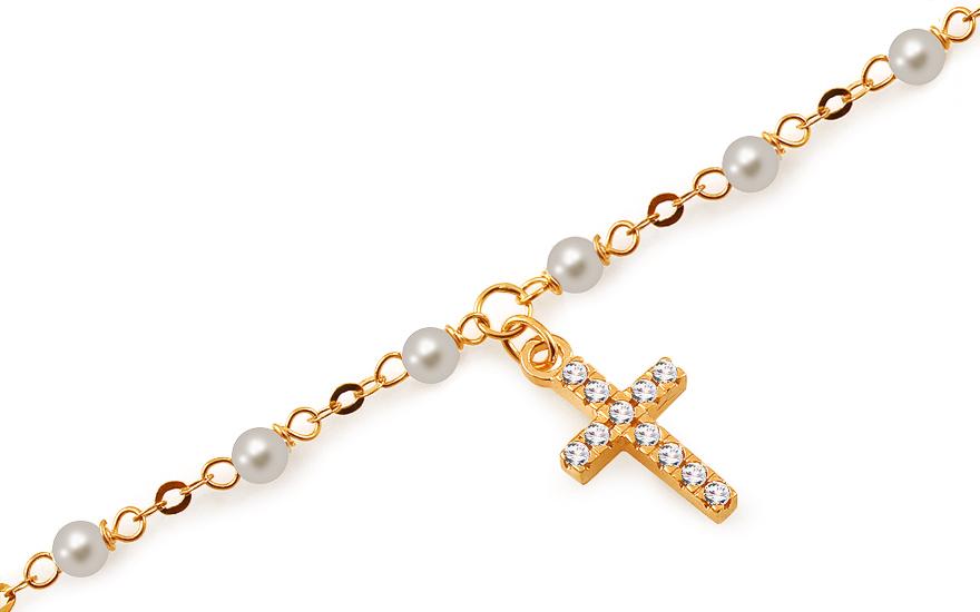 Zlatý náramek s křížkem a perlami IZ12767N