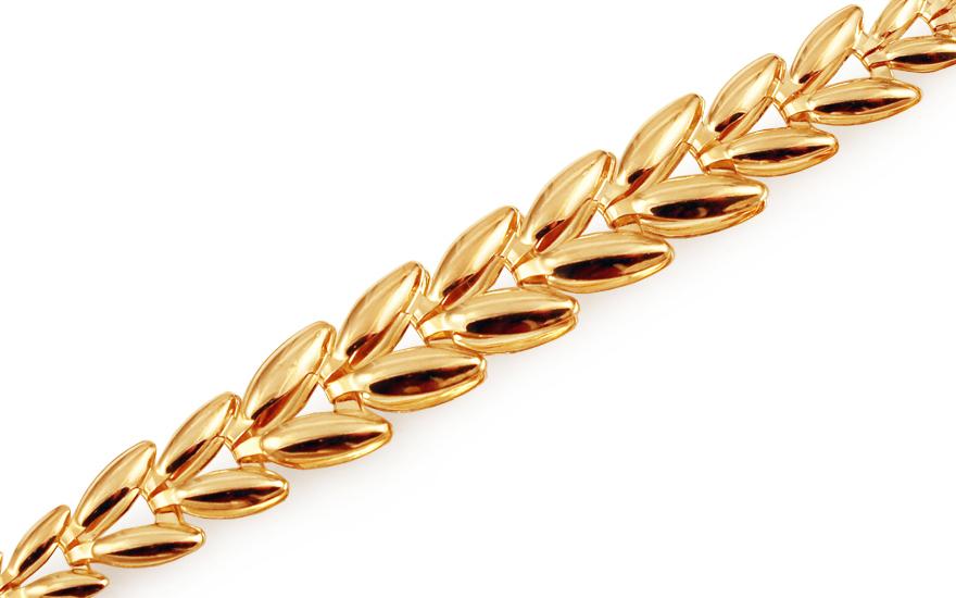 Zlatý náramek Shiny Leaves IZ11437