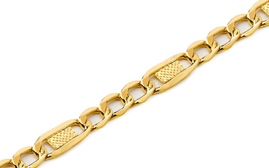 Zlatý pánský náramek Figaro s plotýnkami 1 IZ6734