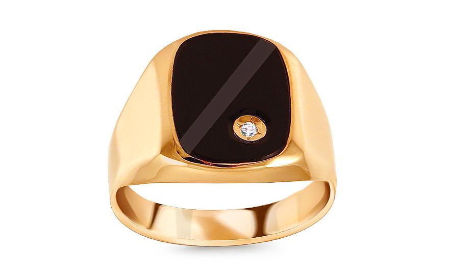 67ffa9d92f Zlatý pánský prsten se zirkonem a Onyx Aldo 1 - IZ14913