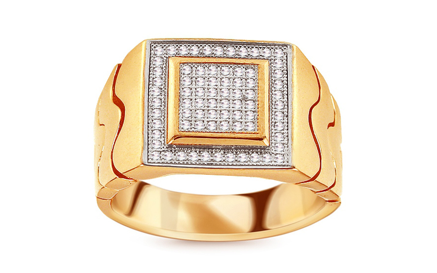 Zlatý pánský prsten zdobený zirkony Killian IZ11960