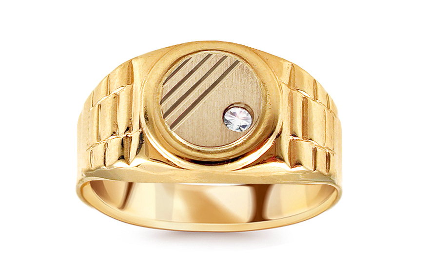 Zlatý pečetní prsten se zirkonem Teagan IZ12270Y