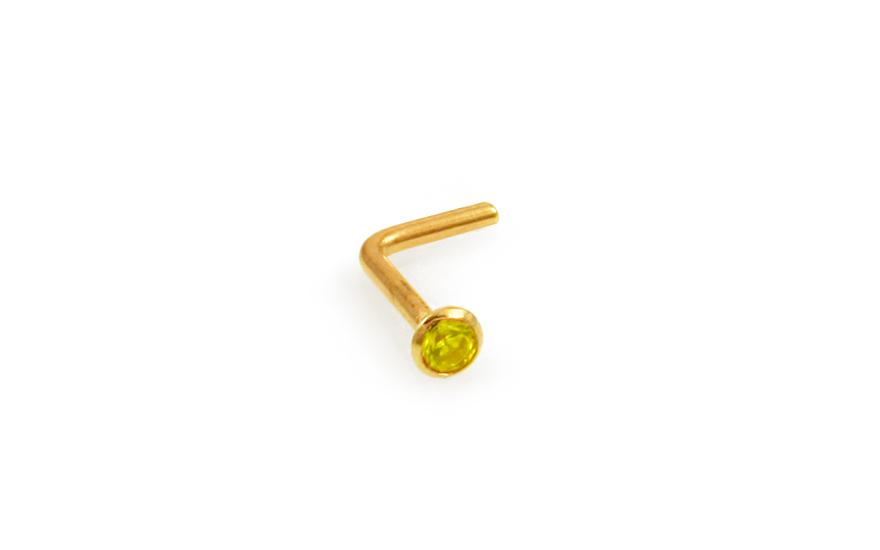 Zlatý piercing do nosu 2 mm se žlutým zirkonem zahnutý IZ10175L