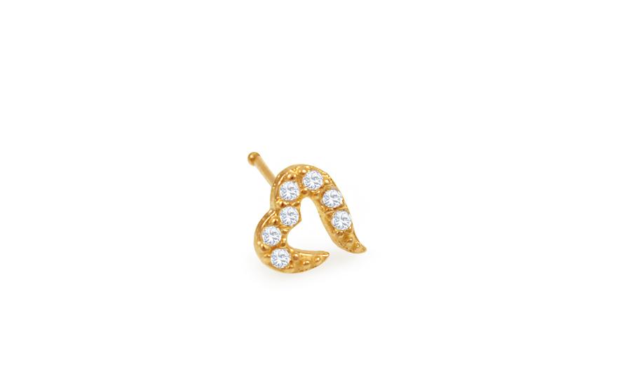Zlatý piercing do nosu srdíčko rovný IZ10170