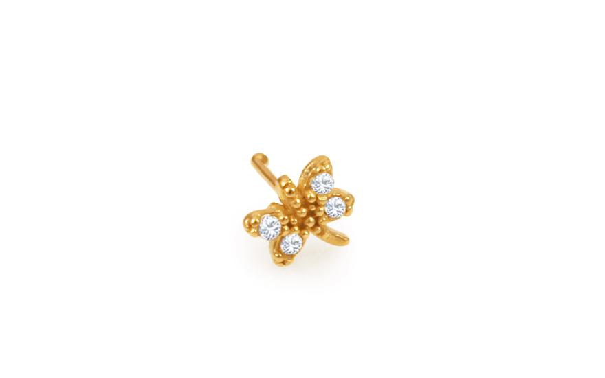 Zlatý piercing do nosu vážka rovný IZ10172
