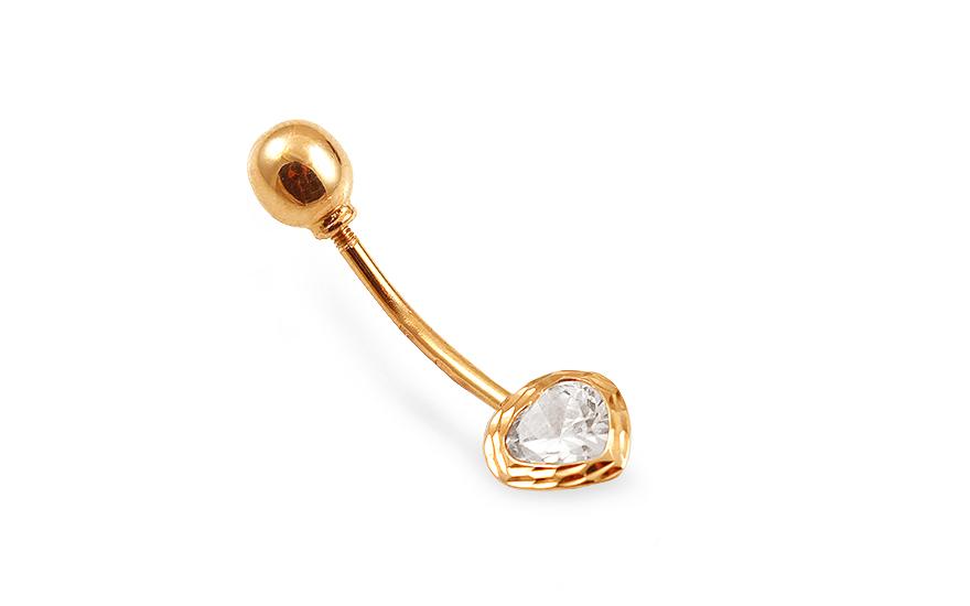 Zlatý piercing do pupíku se zirkonem IZ13432