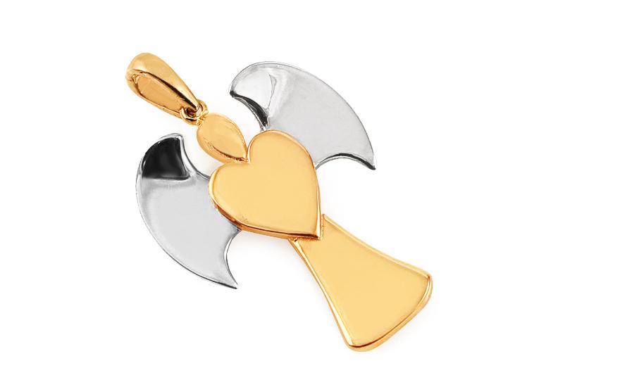 Zlatý přívěsek anděl dvoubarevný IZ11625