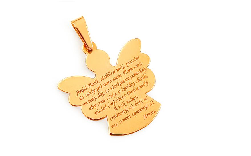 Zlatý přívěsek Anděl s modlitbou IZ9260