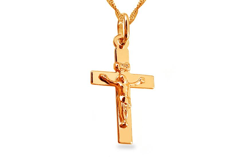 Zlatý přívěsek Ježíš na kříži IZ10136